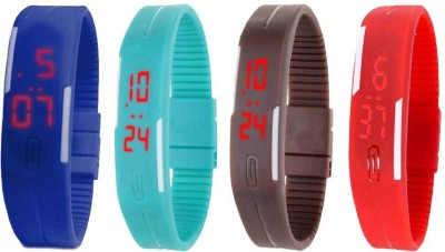 NS18 Silicone Led Magnet Band Watch Combo of 4 Blue, Sky Blue, Brown And Red Watch  - For Couple