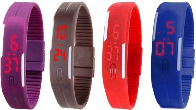 Kissu Led Magnet Band Combo of 4 Brown, Blue, Purple And Red Watch  - For Men & Women