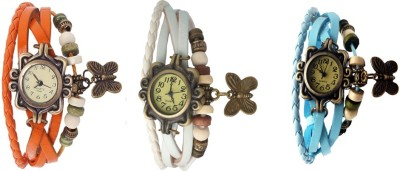 Kissu Vintage Rakhi Watch Combo of 3 Sky Blue, White And Orange Watch  - For Women