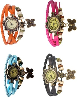 NS18 Vintage Butterfly Rakhi Combo of 4 Orange, Sky Blue, Pink And Black Watch  - For Women
