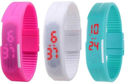 NS18 Silicone Led Magnet Band Combo of 3 Pink, White And Sky Blue Watch  - For Boys & Girls