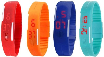 NS18 Silicone Led Magnet Band Watch Combo of 4 Red, Green, Blue And Sky Blue Watch  - For Couple