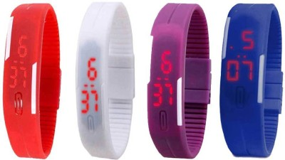 Kissu Led Magnet Band Combo of 4 Sky Blue, Red, Purple And White Watch  - For Men & Women