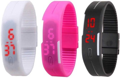 RSN Silicone Led Magnet Band Combo of 3 White, Pink And Black Watch  - For Men & Women
