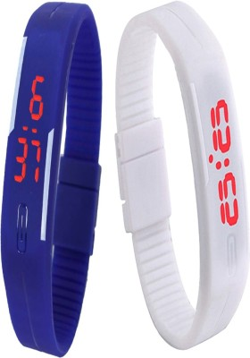 Twok Combo of Led Band Blue + White Watch  - For Men & Women