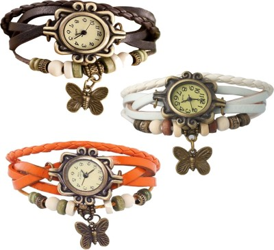 Beyond Destiny Combo of 3 VB-310 Vintage Butterfly Watch  - For Women