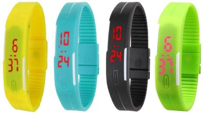 Kissu Led Magnet Band Combo of 4 Yellow, Sky Blue, Black And Green Watch  - For Men & Women