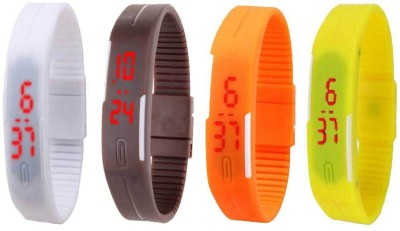 NS18 Silicone Led Magnet Band Combo of 4 White, Brown, Orange And Yellow Watch  - For Boys & Girls