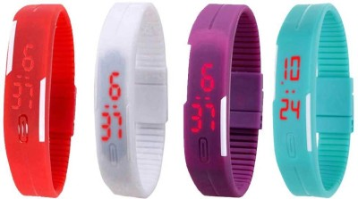 Kissu Led Magnet Band Combo of 4 Red, White, Purple And Sky Blue Watch  - For Men & Women