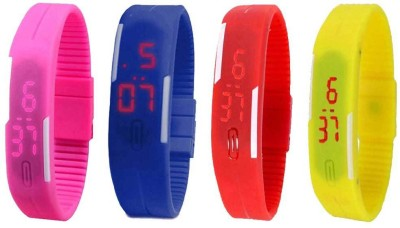 Kissu Led Magnet Band Combo of 4 Pink, Blue, Red And Yellow Watch  - For Men & Women
