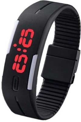 3wish Led Rubber Magnet Black. Watch  - For Women