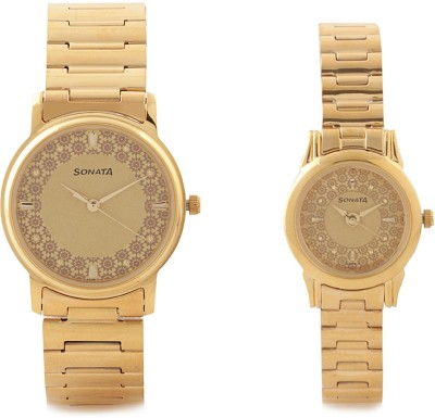 Sonata NH10138925YM01C Analog Champagne Dial Couple's Watch (NH10138925YM01C)