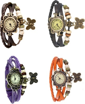 NS18 Vintage Butterfly Rakhi Combo of 4 Brown, Purple, Black And Orange Watch  - For Women