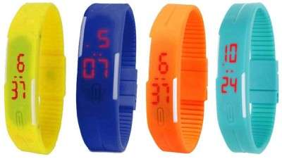 NS18 Silicone Led Magnet Band Watch Combo of 4 Yellow, Blue, Orange And Sky Blue Watch  - For Couple