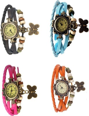 NS18 Vintage Butterfly Rakhi Combo of 4 Sky Blue, Pink, Orange And Black Watch  - For Women