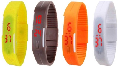 NS18 Silicone Led Magnet Band Combo of 4 Orange, Brown, White And Yellow Watch  - For Boys & Girls