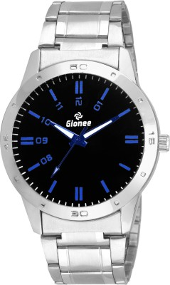 Gionee g028 Black Round Dial in Silver Case and Chain Casual Watch  - For Men