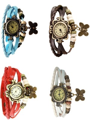 NS18 Vintage Butterfly Rakhi Combo of 4 Sky Blue, Red, Brown And White Watch  - For Women
