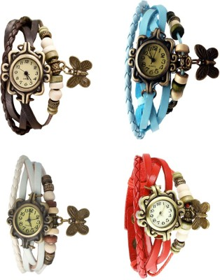 NS18 Vintage Butterfly Rakhi Combo of 4 Brown, White, Sky Blue And Red Watch  - For Women