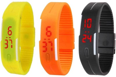 RSN Silicone Led Magnet Band Combo of 3 Yellow, Orange And Black Watch  - For Men & Women