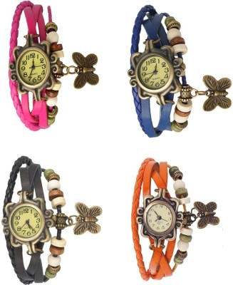 NS18 Vintage Butterfly Rakhi Combo of 4 Pink, Black, Blue And Orange Watch  - For Women