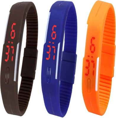 Twok Combo of Led Band Brown + Blue + Orange Watch  - For Men & Women