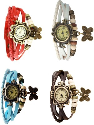 NS18 Vintage Butterfly Rakhi Combo of 4 Red, Sky Blue, White And Brown Watch  - For Women