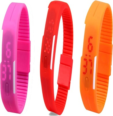 Twok Combo of Led Band Pink + Red + Orange Watch  - For Men & Women