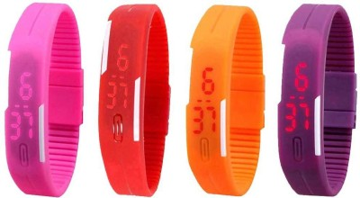 NS18 Silicone Led Magnet Band Watch Combo of 4 Pink, Orange, Purple And Red Watch  - For Couple