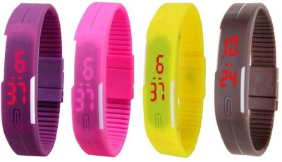 NS18 Silicone Led Magnet Band Combo of 4 Purple, Pink, Yellow And Brown Watch  - For Boys & Girls