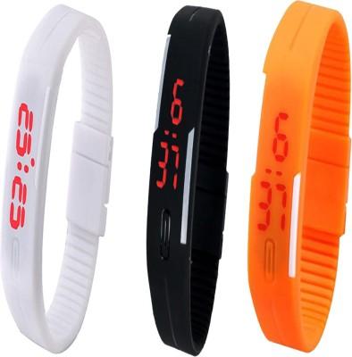 Twok Combo of Led Band White + Black + Orange Watch  - For Men & Women