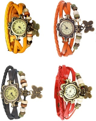 NS18 Vintage Butterfly Rakhi Combo of 4 Yellow, Black, Orange And Red Watch  - For Women