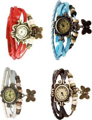 NS18 Vintage Butterfly Rakhi Combo of 4 Brown, White, Red And Sky Blue Watch  - For Women