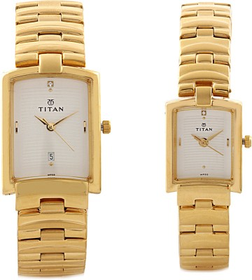 Titan 19402940YM01 Olive Analog Watch For Couple