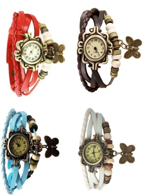 NS18 Vintage Butterfly Rakhi Combo of 4 Red, Sky Blue, Brown And White Watch  - For Women