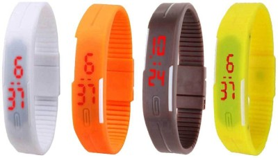 NS18 Silicone Led Magnet Band Combo of 4 White, Orange, Brown And Yellow Watch  - For Boys & Girls