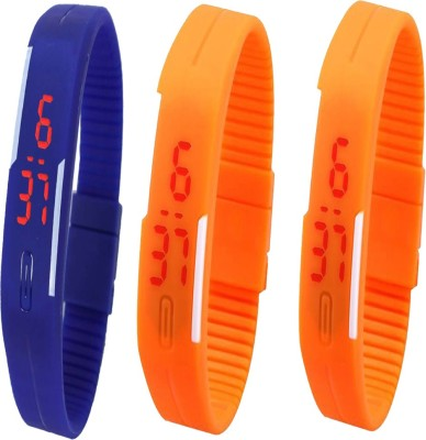 YD Combo of Led Band Purple + Blue + Orange Watch  - For Couple