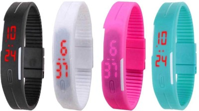 NS18 Silicone Led Magnet Band Watch Combo of 4 Black, White, Pink And Sky Blue Watch  - For Couple