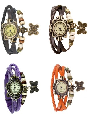 NS18 Vintage Butterfly Rakhi Combo of 4 Black, Purple, Brown And Orange Watch  - For Women
