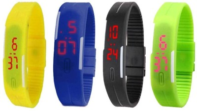 Kissu Led Magnet Band Combo of 4 Yellow, Blue, Black And Green Watch  - For Men & Women