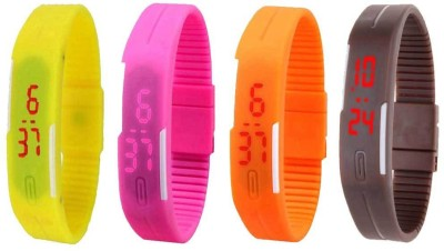 NS18 Silicone Led Magnet Band Combo of 4 Yellow, Pink, Orange And Brown Watch  - For Boys & Girls