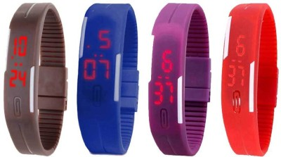 Kissu Led Magnet Band Combo of 4 Purple, Brown, Red And Blue Watch  - For Men & Women