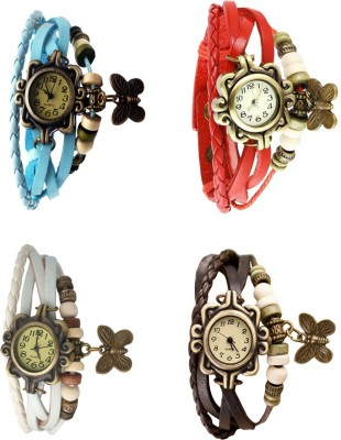 NS18 Vintage Butterfly Rakhi Combo of 4 Brown, Red, Sky Blue And White Watch  - For Women