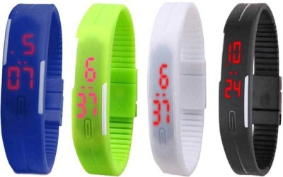 Fashion Gateway Blue Green White and Black Led Magnet Band (pakc of 4) Watch  - For Boys & Girls