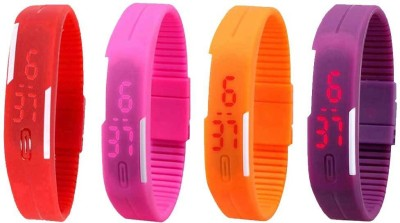 NS18 Silicone Led Magnet Band Watch Combo of 4 Pink, Purple, Orange And Red Watch  - For Couple