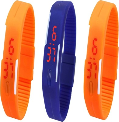 YD Combo of Led Band Purple + Brown + Orange Watch  - For Men & Women
