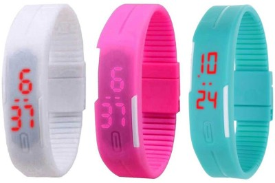 Kissu Led Band Watch Combo of 3 White, Pink And Sky Blue Watch  - For Couple