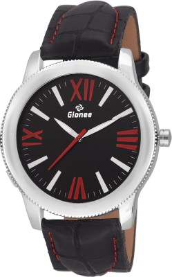Gionee g008 Analog Black Round Dial & Black Leather Strap Casual Wrist Watch  - For Men