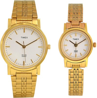 Timex COUP586 Gold Dial Analog Watch For Couple