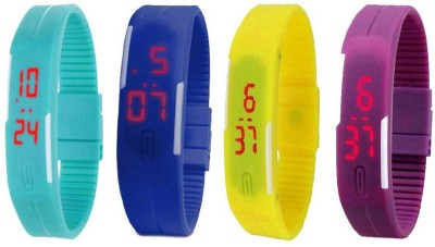 RSN Silicone Led Magnet Band Combo of 3 Red, Purple And Brown Watch  - For Men & Women